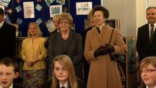 Princess Anne with pupils