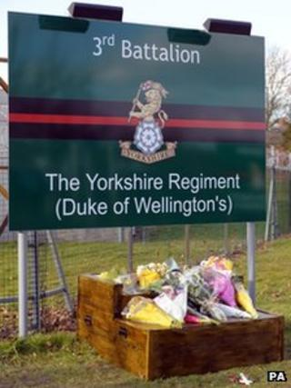 Floral tributes at barracks in Wilshire for 3rd Battalion The Yorkshire Regiment