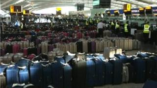 Bags lined up for the test at Heathrow Terminal 5