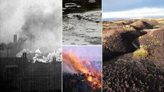 Factory smoke, rain, fire and damaged peat (Photos, clockwise from left; Picture Sheffield, Getty, Moors for the Future, BBC)