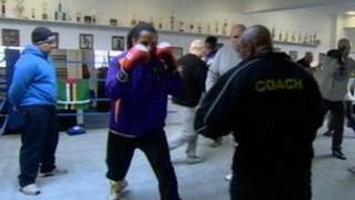 Boxer Hewlett Lucien in training