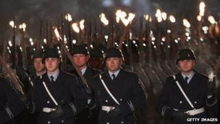 Torchlight army parade for German President Christian Wulff at Bellevue Palace, Berlin, 8 March