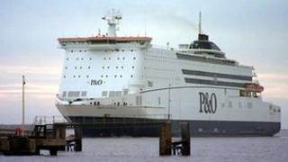 P&O Ferries ship leaving Hull