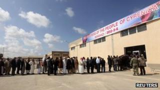 People queue to attend the founding conference of Cyrenaica [6 March 2012]