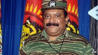 This undated handout picture released by The Liberation Tigers for Tamil Eelam (LTTE), LTTE leader Velupillai Prabhakaran poses at an undisclosed location in Sri Lanka.