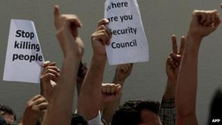 Syrians protesting in Dubai
