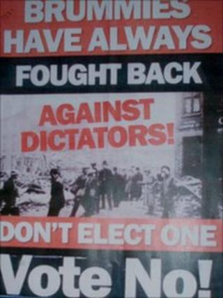 Leaflet from Birmingham Campaign Against an Elected Mayor