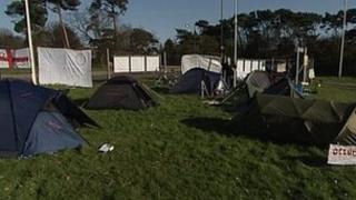 Tents outside Bournemouth University