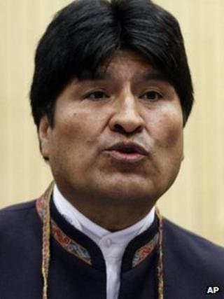 Bolivia's President Evo Morales delivers a speech at the 55th session of the Commission on Narcotic Drugs of the United Nations Office on Drugs and Crime, UNODC on 12 March 2012