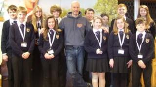 Ben Mee and Exmouth College pupils