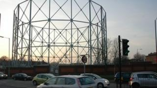 The gasometer off Towcester Road in Northampton.