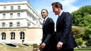 David Cameron, right, and Barack Obama in the gardens of Lancaster House, London, in May 2011