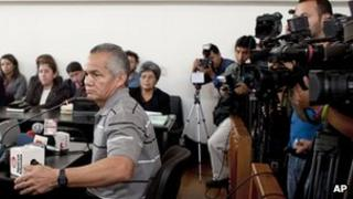 """Pedro Pimentel Rios, a former member of an elite Guatemalan military force known as the """"kaibiles,"""" attends his trial at a court in Guatemala City, 12 March 2012."""