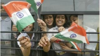Indian children with flags
