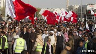 Anti-government protesters during a demonstration in Manama, Bahrain