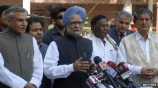Indian Prime Minister Manmohan Singh addresses the media in Delhi - 12 March 2012