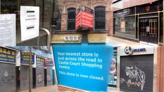 Vacant shops and to let signs