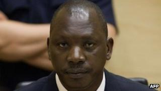A file photo taken on August 25, 2011 shows Congolese militia leader Thomas Lubanga sitting in the courtroom of the International Criminal Court (ICC) in the Hague.