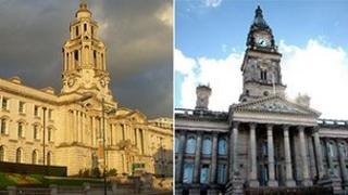 Stockport and Bolton town halls