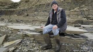 Artist Gavin Lockhart at quarry. Pic: Angus Mackay/HIE