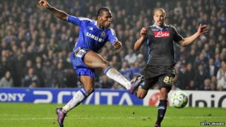 Chelsea striker Didier Drogba kicking the ball