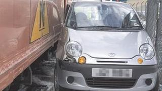 Car after collision with Metro train