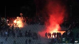 Clashes in the stadium in Port Said, Egypt (1 Feb 2012)