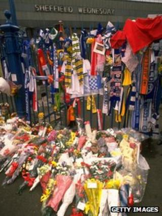 Floral tributes laid following the Hillsborough disaster