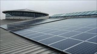 Solar panels at Mere Leisure Centre
