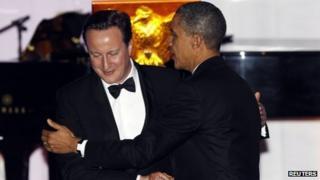 US President Barack Obama (right) and British Prime Minister David Cameron