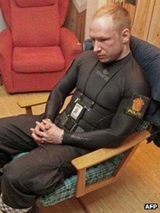 Anders Behring Breivik in handcuffs just after his arrest