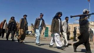 Taliban fighters in Herat province, 6 March 2012.