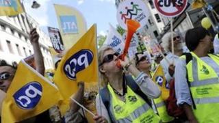PCS members on strike
