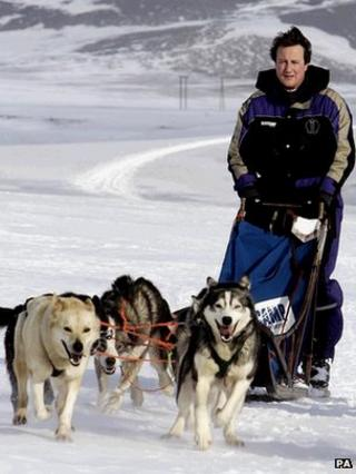 David Cameron on glacier with dogs