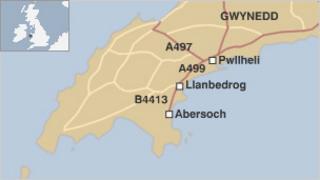Map o ardal Pwllheli