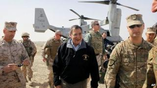 US Defence Secretary Leon Panetta in Afghanistan on 14 March 2012