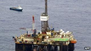File image of oil rig in Frade field off Rio de Janeiro