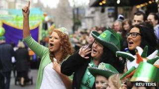 Spectators at the St Patrick's Day parade