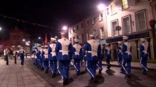 The loyalist band paraded through Armagh on Saturday night