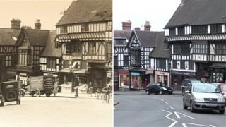 Wyle Cop, Shrewsbury, in 1920s and in 2012