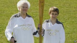 Diana Gould with youngest torchbearer Dominic John MacGowan