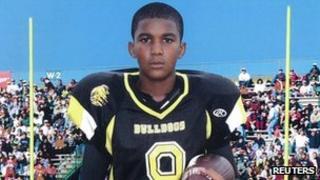 Undated school sports photo of Trayvon Martin