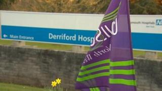 Protest vigil at Derriford Hospital in Plymouth