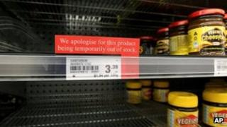 File image of shelves bereft of Marmite in New Zealand