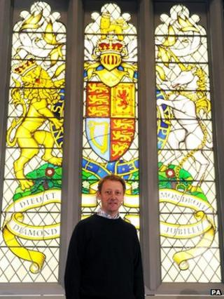 John Reyntiens with the Jubilee Window