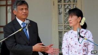 Asean Secretary General Surin Pitsuwan with Aung San Suu Kyi in February 2012