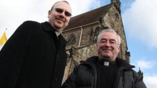The Reverend Father Chris Matthews and the Very Reverend Canon Stephen Coonan outside Shrewsbury Cathedral