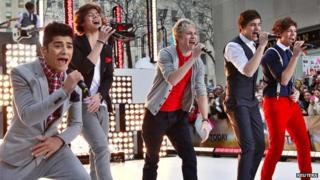 One Direction performing outdoors
