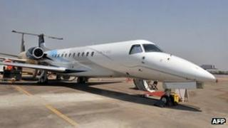 An Embraer Legacy 650 on display at an airshow in India this month