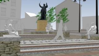 Artist's impression around Cardadog statue in Aberdare